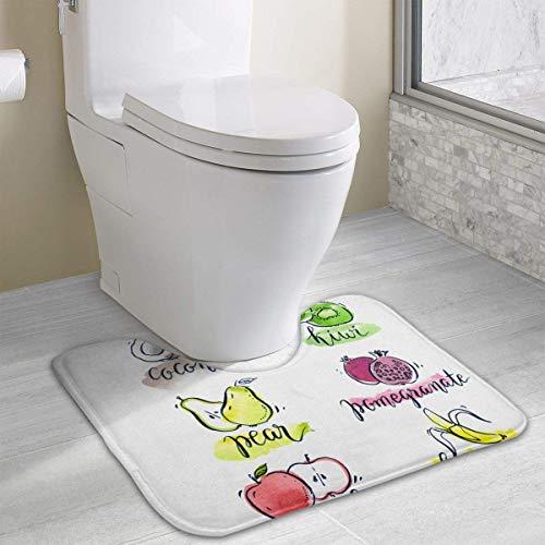 Hoklcvd Delicious Fruits U-Shaped Toilet Floor Rug Non-Slip Toilet Carpets Bath Mats Rug -