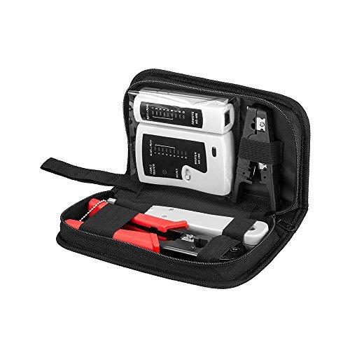 versal Netzwerk Werkzeug Kit 6 in 1 - Kabeltester | Modular Crimpzange RJ11 RJ12 RJ45 | LSA Auflegewerkzeug | Abisolierwerkzeug | inkl. 20x RJ45 Stecker/-Knickschutztüllen + Tasche ()