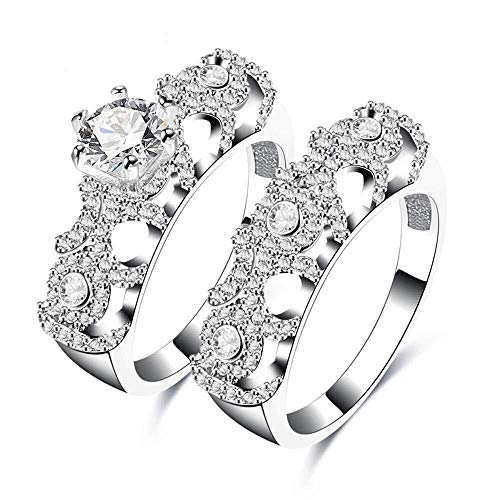 QINGZHOUQI Verlobungsring for Frauen platiniertes Kupfer verziert mit CZ Diamant 2tlg. Ehering-Set (Color : Q, Größe : Us9#) (Cz Größe Ehering 9 Sets,)
