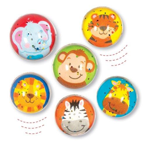 Pelotas de Goma con Purpurina e Imágenes de Animales de la Jungla para Niños. Perfectas como Relleno de Piñata Premios y Regalos de Fiestas Infantiles (Pack de 6)