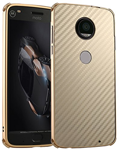 "Coque Motorola Moto Z2 Force 2017, Nnopbeclik® 2in1 set ""Rugged Armor"" Premium Hard Case Slim Ultra-thin Ultra-léger Housse (5.5 Pouces) Resistant Absorption de Choc / Texture Fibre de Carbone / Design Sergé Backcover Anti-doigt Scratches Etui Boîtier Couverture Rigide Retour étui ""NOT FOR MOTO Z2 PLAY"" - [Or] e18a1bab-66ed-4722-bf14-050a19f57f32"