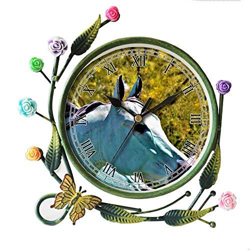 girlsight Wohnzimmer Schmetterling Blume Blatt Dekorative Quarz, Eisen Kunst Analog Große Ziffern Nachttisch Tischuhr -343.Fountain Metal Blue Horse Statue - Eisen Kunst