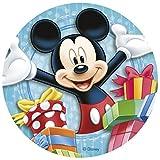 Mickey Mouse Tortenaufsatz, rund, 20cm, aus essbarem Zucker. Lizenzprodukt. Von Dekora.