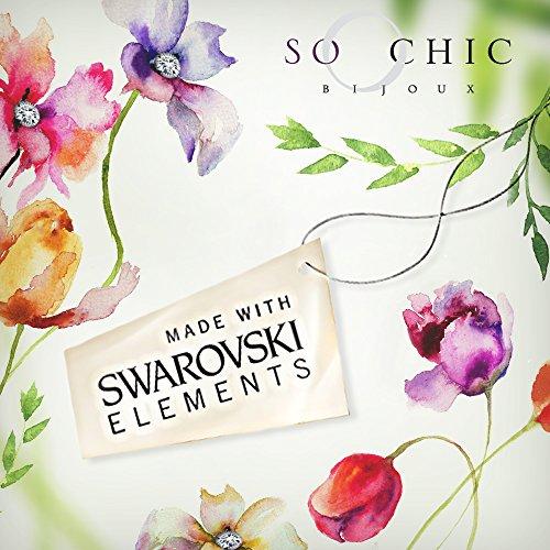 So Chic Bijoux © Parure Collier (Chaîne + Pendentif) Boucles d'oreilles Coeur Cristal SWAROVSKI © ELEMENTS Bleu ciel