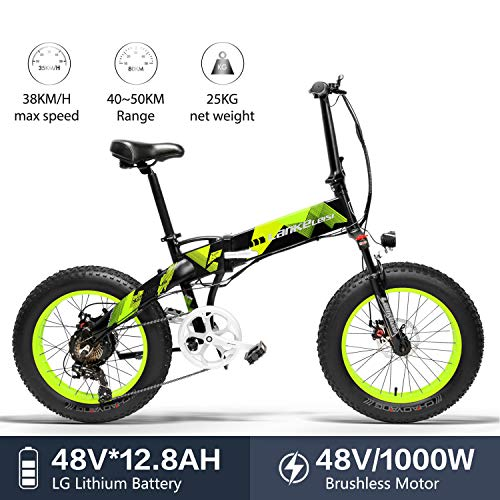 LANKELEISI X2000 20 x 4,0 Zoll große Reifen, 48 V, 1000 W, 12,8 Ah, Fat Tire Rahmen aus Aluminium-Legierung, faltbar, für Erwachsene, Damen/Herren, für Berge/Strand/Schnee E-Bike, grün