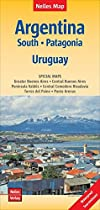 Map of Southern Argentina, Patagonia and Uruguay - by Nelles Verlag