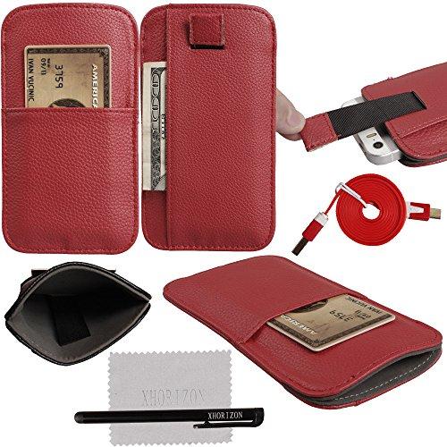 xhorizon® Praktisch Nutzen Premium Leder Tasche KRotitkarteninhaber Pull Tab Case Beutel Weiß (S) Rot