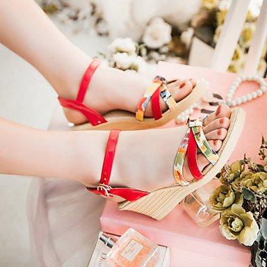 LvYuan Damen-Sandalen-Büro Kleid Lässig-PU-Keilabsatz-Andere-Blau Gelb Rosa Rot Blue