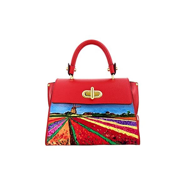 Hand-painted genuine leather shoulder bag – TULIPS IN HOLLAND - Women Bag, Hand Bag, Genuine Leather, Made in Italy, Painted Leather, Handbag and Shoulder Bag, Craftsmanship - handmade-bags