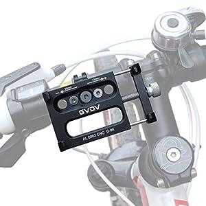"""GVDV Soporte Móvil para Bici, Motos y GPS, Aleación de aluminio, Abrazadera con goma 360°Rotación para 3.5"""" hasta 6.2"""", Negro"""