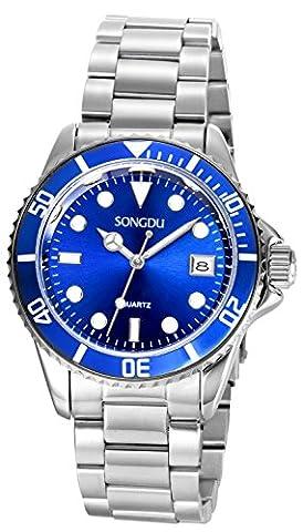 SONGDU Quartz Montres à bracelet en acier inoxydable pour hommes Argent mode analogique Dates Calendrier Affichage numérique cadran bleu
