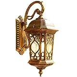 Antike Außenlampe aus Aluminium in Kupfer Schwarze Wandleuchten mit Glasschirm in Klar Wasserdichtes Design AußenWandleuchte IP44/ E27-Fassung/1-Flammig/ 20 * 30 * 53CM