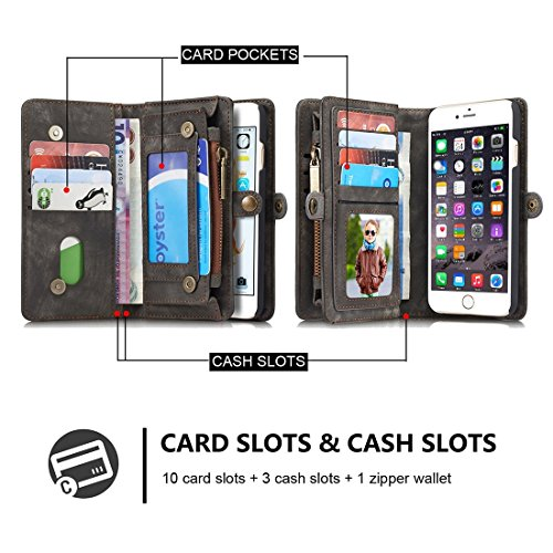 Phone case & Hülle Für iPhone 6 / 6s, Multifunktionale echtes Leder Brieftasche mit abnehmbarem magnetischen PC zurück Schutzhülle & 10 Card Slots & 3 Cash Slots & 2 Foto Frames & 1 Zipper Wallet & 3  Black