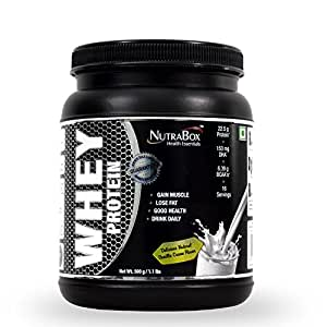 Nutrabox™ 100% Whey Protein Powder For Gym / Athletes Enriched With DHA & MCT For Extraordinary Results And A Great Taste (RICH VANILLA CREAM FLAVOUR, 1.10 LBS / 500 GRAMS, 15 SERVINGS)| The Best Post Workout Proteins, Supplements For Sportsmen & Bodybuilders (Men & Women)