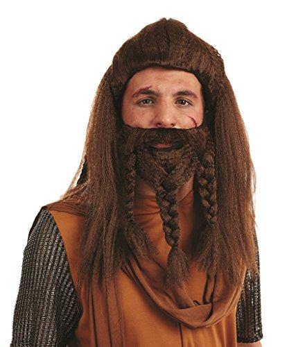 Herren Braun Viking Perücke & Geflochten Bart Nordic Kostüm Kleid Outfit Zubehör