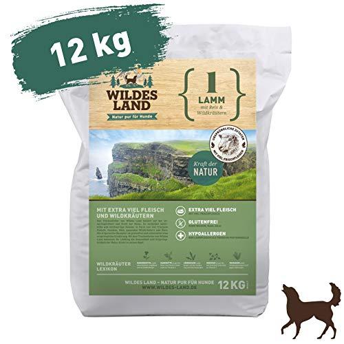 Wildes Land | Trockenfutter für Hunde | Nr. 1 Lamm | 12 kg | mit Reis und Wildkräutern | Glutenfrei & Hypoallergen | Extra viel Fleisch | Für alle Hunderassen | Beste Akzeptanz und Verträglichkeit