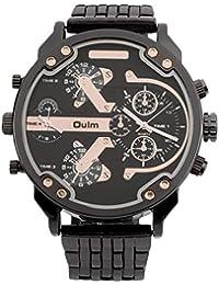bcbb1ecce4eb Oulm Hombres 2 Movimiento Gran Dial Correa de Acero Inoxidable Reloj  Deportivo 3548 Forma Redonda Reloj de Pulsera Casual Mejores…
