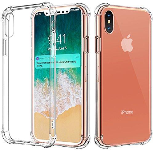 iphone X Hülle Bovon [Crystal Clear] Stoßfest [Ultra Dünn] Transparent Hülle Bumper Cover TPU Weich Durchsichtige Handyhülle Schutzhülle für iPhone X (2017) (Clear)