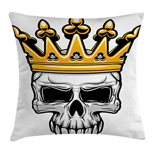 Yinorz King Throw Pillow Cushion Cover, Hand Drawn Crowned Skull Cranium with Coronet Tiara Halloween Themed Image, Decorative Square Accent Pillow Case, 18 X 18 inches, Golden and Light Grey