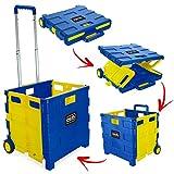 ASAB Carrito de la Compra de plástico Plegable, Ligero, para Profesores, con Ruedas, Plegable, con asa de Aluminio, Color Amarillo y Azul (35 kg)