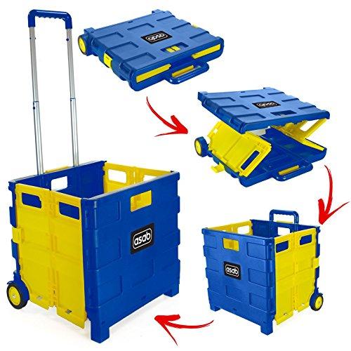 ASAB Carrello Pieghevole in plastica–Leggero Teacher' s Book Cart–Trolley Pieghevole Contenitore con Manico in Alluminio–Giallo e Blu–35kg