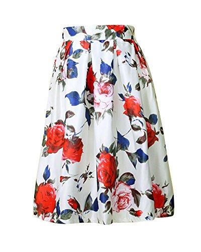 Moollyfox-Flores-De-Estilo-Vintage-Impresos-Completos-Mujeres-Plisadas-De-Cintura-Alta-Midi-Falda
