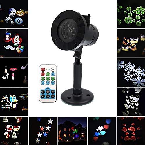 LED Gartenleuchte Projektor CITTATREND, 12 Verschiedene Muster Scheinwerfer mit Fernbedienung, IP65 Projektionslampe Außen Innen Lichteffekt, Fluter für Weihnachten, Halloween, Geburtstag, ()