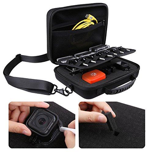 Tragbare Box XL für GoPro Hero 5, Black, Session, Hero 4, Session, Black, Silver, Hero+ LCD, 3+, 3, 2, 1 mit Schultergurt und anpassbarer Innenausstattung und Zubehör - Passen Sie Ihre Tragebox Ihren Aktivitäten an. (Schwarz - Nylon, XL Tragbare Box)
