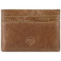 Porte-cartes en cuir véritable, bronzer - blocage des ondes RFID, 5 poches, format fin
