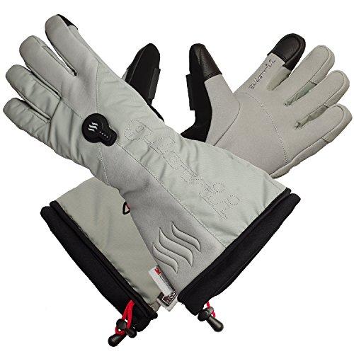 Glovii - Guantes calentados térmicamente con esquí térmico, tamaños: S, M, L, XL, Gris (XL)