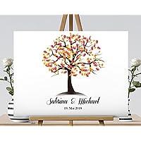 Fingerabdruck Gästebuch von CristalPainting Hochzeitsbaum Wedding Tree Fingerprint Leinwanddruck Hochzeitsgästebuch auf Keilrahmen 50x40 cm