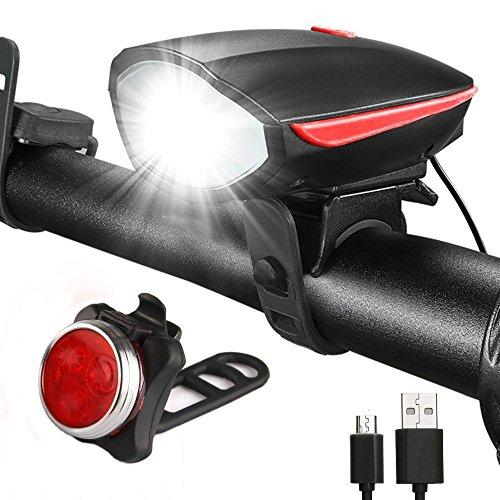 LED Beleuchtung Set - YAMI Lichter vorne und hinten - Kinderwagen Beleuchtungsset USB aufladbar | Camping Lampe zum Aufladen | Scheinwerfer wasserfest Lampenset Rücklicht – Frontlicht 250 Lumen Akku 1200mAh. (Led-fahrrad-beleuchtung)