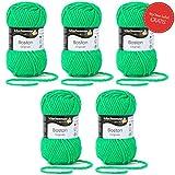Boston Wolle Schachenmayr Garn - 5 Knäuel neon grüne Wolle stricken häkeln Nadelstärke 7-8 mm - Schachenmayr Wolle Boston neon grün (171) - Wolle für Anfänger - 50 g/Knäuel + GRATIS MyOma Label