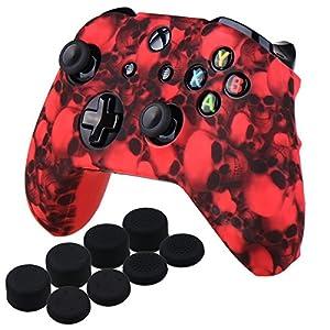 YoRHa Wassertransferdruck Schädel Silikon Hülle Abdeckungs Haut Kasten für Xbox One X & Xbox One S Controller x 1 (rot) Mit PRO aufsätze Thumb Grips x 8