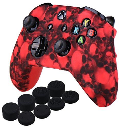YoRHa Cráneo Impresión de transferencia de agua silicona caso piel Fundas protectores cubierta para Xbox One X & Xbox One S controller Mando x 1 (Rojo) Con PRO los puños pulgar thumb grips x 8