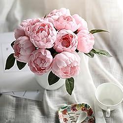 LUYUE flor de peonía artificiales peonía ramo de flores de seda decoración de hogar para novias, boda, fiesta de noche, fiesta, diseño floral vintage 6cabezas