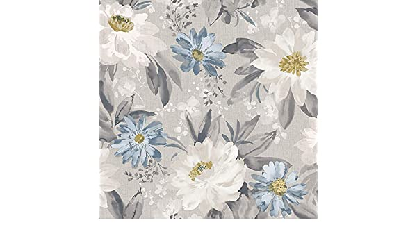 Arthouse Painted Dahlia Grey Multi Wallpaper 676105 Feature Wall Large Floral