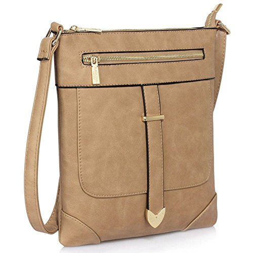 LeahWard® Kreuzkörper Schmetterling Taschen nett Groß Schulter Handtaschen 481 Taupe Umhängetasche