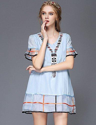 LYQ/ Robe Aux femmes Grandes Tailles Grandes Tailles / Vintage / Soirée / Travail / Décontracté , Couleur Pleine / Mosaïque Col en VAu dessus screen color-2xl