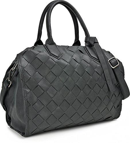MIYA BLOOM, borse da donna, borse, borse a tracolla, borse incrociate, 36 x 28 x 10,5 cm (L x A x P), colore: natura nero