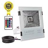 LEDMO faro led esterno RGB 50w,Faretto proiettore LED RGB 5000lm Impermeabile faretto da esterno IP65 Pari ad alogena da 500W