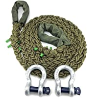 RopeServices UK Cuerda de remolque de nailon militar de oliva de 24 mm 4 x 4 x 4 x 15 metros. Con 2 grilletes de 4,75 toneladas. K.E.R.R