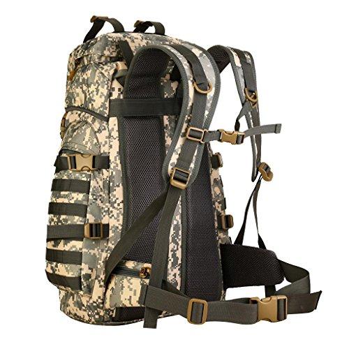 MagiDeal Wasserdichter Outdoor taktischer Rucksack Wanderrucksack Trekkingrucksack Reiserucksack mit großen Kapazität, 60L Sportrucksack ACU Camo