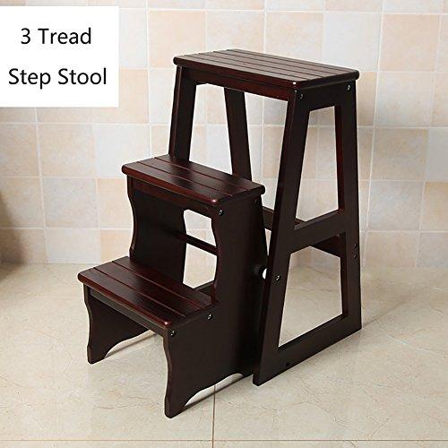 NYDZDM Sgabello Step Pieghevole in Legno per cucine per Bambini Piccoli sgabelli per Bambini Sgabelli per Bambini (Colore : Nero, Dimensioni : 3 Steps)