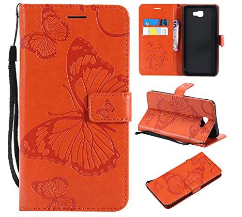 Hozor Samsung Galaxy J7 Prime Handyhülle, Retro Großer Schmetterling Muster PU Kunstleder Ledercase Brieftasche Kartenfächer Schutzhülle mit Standfunktion Magnetverschluss Flip Cover Tasche, Orange -