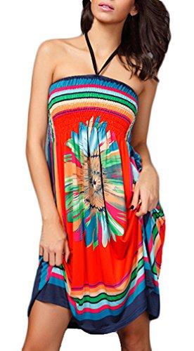 Kleider Damen Druckkleider Ärmellos Rückenfrei Schulterfrei High Waist Blumendrucken Ethno-Style Neckholderkleider Orange
