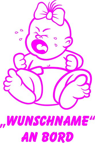 INDIGOS UG - Babyaufkleber / Kinderaufkleber 086 mit Wunschname / Wunschtext an Bord ca. 20 cm Höhe - Autoaufkleber in verschiedenen Farben