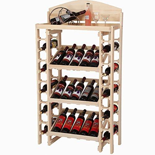 Weinregale Holz 35-Flaschen-Wein-Anzeigen-Gestell-freies stehendes Flaschen-Speicher-Regal, Wabble-frei, 73 * 35 * 130cm (Farbe : Holzfarbe) - Holz-flaschen-anzeige