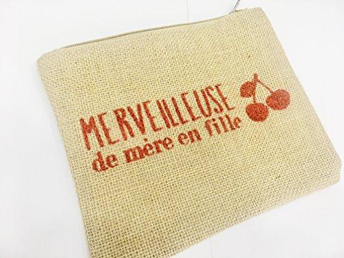 Pochette Trousse en Toile de Jute à message imprimé Paillettes rouge Merveilleuse de mère en fille Doublé synthétique Dim : 22 x 18 cm