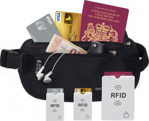 51cyBCN%2BONL - RFID Money Belt, Wallet, Pouch, Bumbag, Fanny Pack - With Built In RFID Protection Providing Safe Travel and Security Against Identity Theft. Includes 3 BONUS RFID Sleeves. Reviews and price compare uk